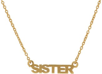 "ADORNIA 14K Yellow Gold Vermeil ""SISTER"" Pendant Necklace"