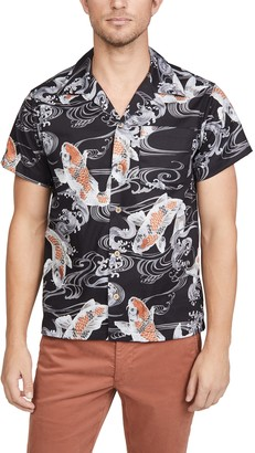 Naked & Famous Denim Koi Fish Aloha Shirt