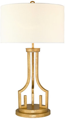 "Lucas Mckearn 32"" Distressed Gold Table Lamp With White Drum Shade"