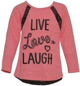 Littoe Potatoes Big Girls Neon Black Lettering Lace Long Sleeved Top