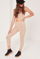 Missguided Ribbed Highwaisted Leggings Nude