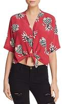Rails Thea Printed Silk Tie-Front Top