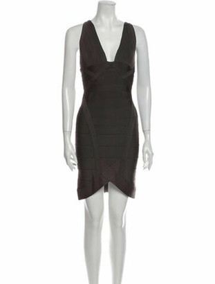Herve Leger V-Neck Mini Dress Grey