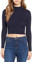 Astr 'Nellie' Crop Mock Neck Sweater