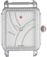 Michele 26mm x 27.5mm, Deco II Mid Uptown Diamond, Diamond Dial Watch Silver Watches