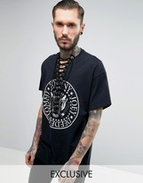 Reclaimed Vintage Inspired Oversized T-Shirt With Ramones Band Print and Lace Up Front