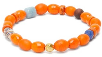Musa By Bobbie - Aquamarine, Tiger's Eye & 18kt Gold Bead Bracelet - Orange