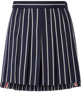 Thom Browne Pleated Striped Wool And Cotton-blend Twill Mini Skirt - Navy
