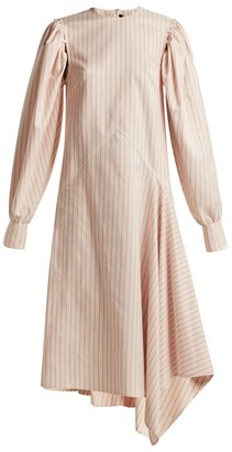 Calvin Klein Pinstriped Silk And Cotton-blend Midi Dress - Womens - White Multi