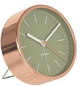Karlsson Alarm Clock Watch - Green with Copper Silent Sweep Movement No Ticking