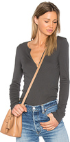 LAmade Lily V Neck Tee in Charcoal. - size M (also in S,XS)