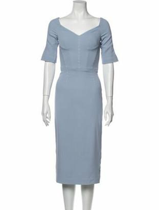 Dolce & Gabbana V-Neck Midi Length Dress Blue
