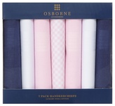 Osborne Pack Of Seven Pink Navy And White Cotton Handkerchiefs