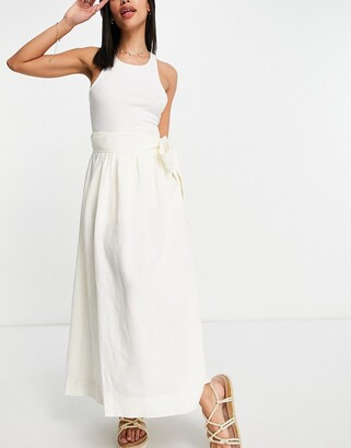 And other stories & ecovero linen co-ord flowy midi skirt in off white