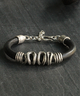 Nautilus Silver-Plated & Leather Wrapped Bracelet