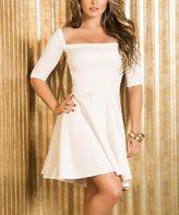 Am.pm. White Cutout-Back Square Neck Sheath Dress