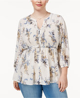 American Rag Trendy Plus Size Tie-Waist Peasant Blouse, Created for Macy's