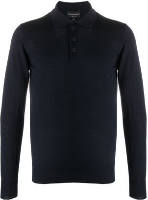 Emporio Armani Long Sleeve Wool-Knit Polo Shirt