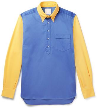 Leon Aimé Dore Button-Down Collar Panelled Cotton-Twill Half-Placket Shirt