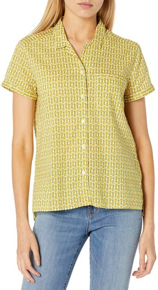 Goodthreads Amazon Brand Women's Cotton Dobby Camp Shirt