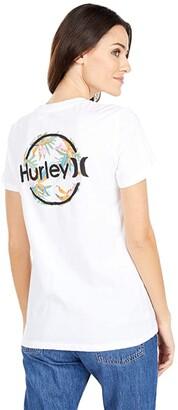 Hurley Brush Circle Perfect Crew (White) Women's Clothing