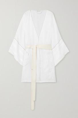 Eres + Vita Kin Antarctica Embroidered Linen Kimono - White