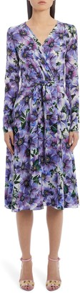 Dolce & Gabbana Floral Long Sleeve Silk Crepe Dress