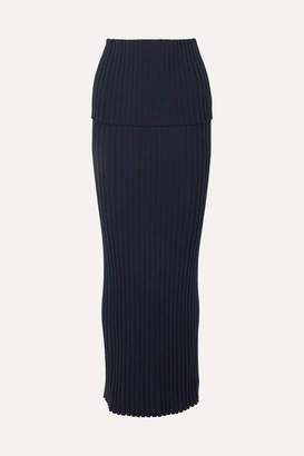 Gabriela Hearst Alamos Ribbed Wool Maxi Skirt - Navy