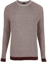 River Island MensBurgundy ribbed crew neck slim fit jumper