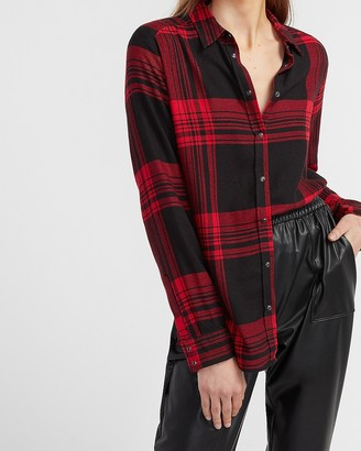 Express Plaid Puff Sleeve Flannel Shirt