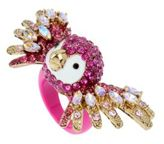 Betsey Johnson Tropical Punch Pave Crystals Parrot Ring