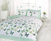 Art Double Duvet Cover and 2 Pillowcase Bed Set, Polycotton, Green