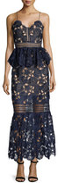 Self-Portrait Amaryllis Sheer Lace Column Dress, Navy
