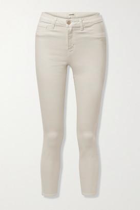 L'Agence Margot Cropped Velvet-trimmed High-rise Skinny Jeans - Ivory