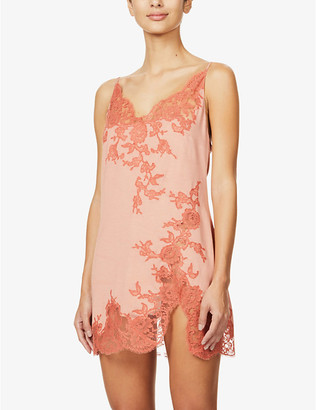 Marjolaine Lettie floral silk-blend jersey chemise