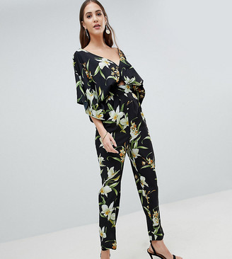 ASOS DESIGN Tall Jumpsuit With Kimono Sleeve And Peg Leg In Lily Print