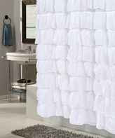 Carnation Home Fashions White Crushed Voile Shower Curtain