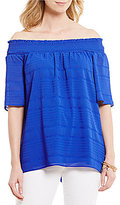 Gibson & Latimer Off-The-Shoulder Textured Blouse