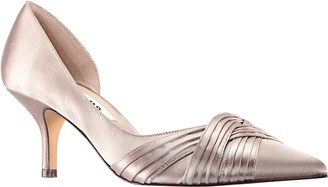 Nina Mid-Heel Pointed Toe Open-Side Pumps - Blakely