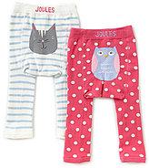 Joules Baby Girls Newborn-2T Owl/Cat 2-Pack Leggings Set