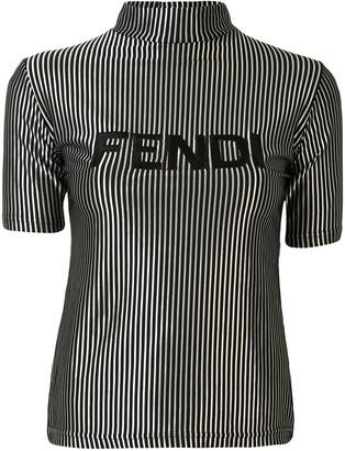 Fendi Pre Owned metallic striped logo T-shirt