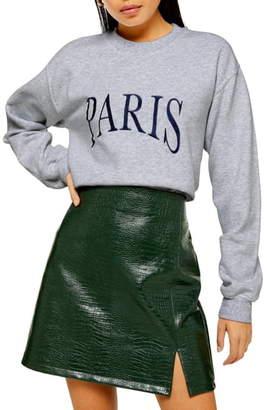 Topshop Paris Embroidered Oversize Sweatshirt