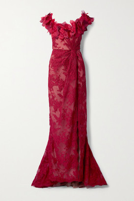 Marchesa Organza And Corded Lace Gown - Red