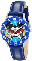 Disney Kids' W001593 Mickey Mouse Stainless Steel and Faux-Leather Strap Watch
