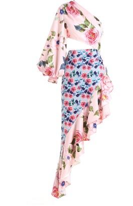 Comino Couture London Asymmetric Clashing Rose Print Dip Hem Midaxi Dress