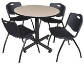 "BEIGE Marin 42"" Round 5 Piece Breakroom Table and Chair Set Symple Stuff Table Finish: Beige, Chair Finish: Black"