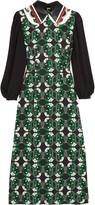 Miu Miu Leather-trimmed printed crepe midi dress