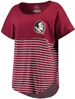 Women's Garnet Florida State Seminoles Colorblock Stripe Cutoff T-Shirt