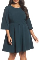 Eliza J Plus Size Women's Belted Crepe Fit & Flare Dress