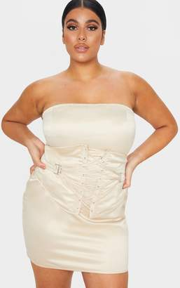 PrettyLittleThing Plus Champagne Woven Bandeau Lace Up Corset Detail Bodycon Dress